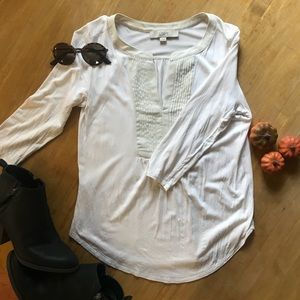 LOFT 3/4 Length Sleeve White Top